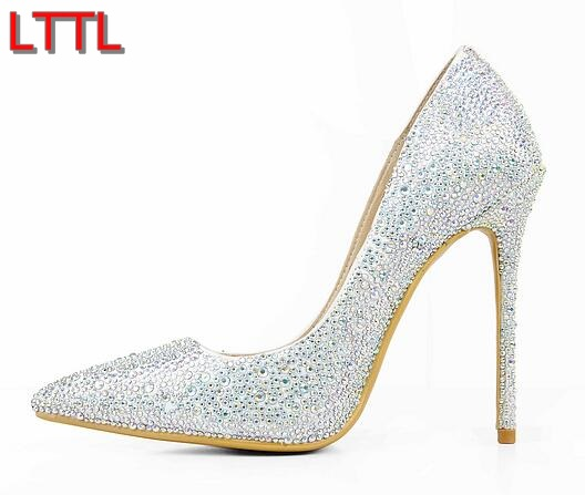 2017 shoes Point Toe Pumps Rhinestone High Heels Wedding Shoes Women Bling Bling Thin Heel Sexy Lady Dress Shoes White Pump  цепная пила patriot es1816 1800вт