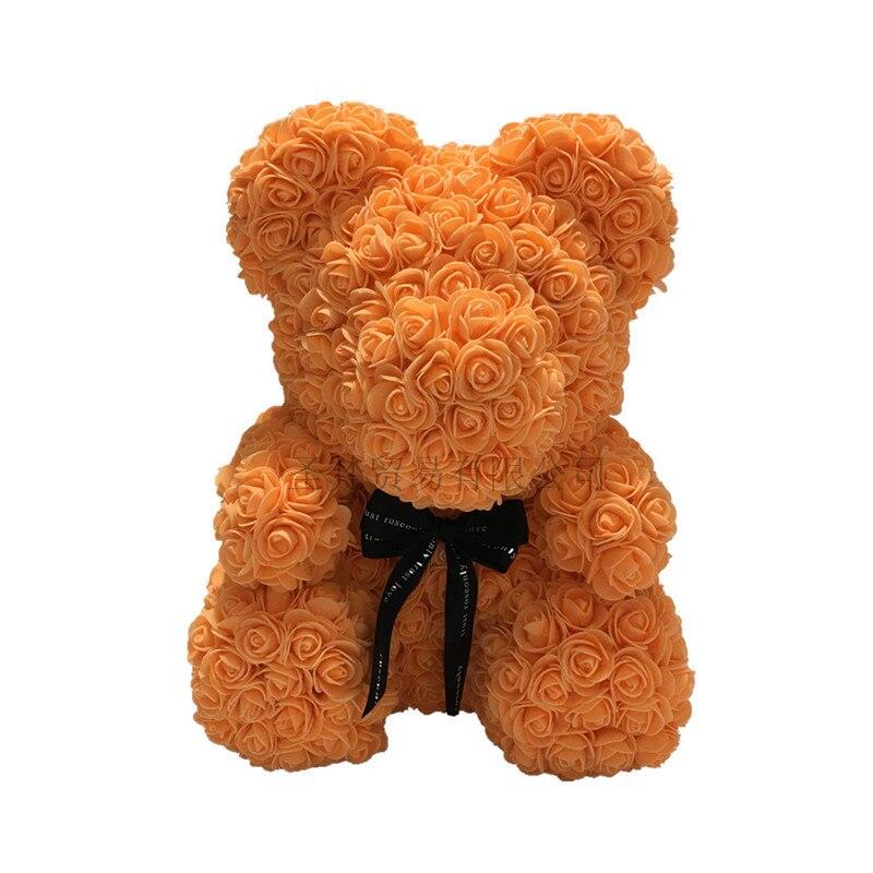 2019 saint valentin cadeau 40 cm ours de Roses fleurs artificielles maison mariage Festival décoration cadeau boîte couronne artisanat R90 - 2