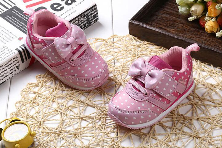 17 Autumn girl running sports shoes heart print black pink bowknot baby girls shoes Children casual Sneaker kid soft gym shoes 11