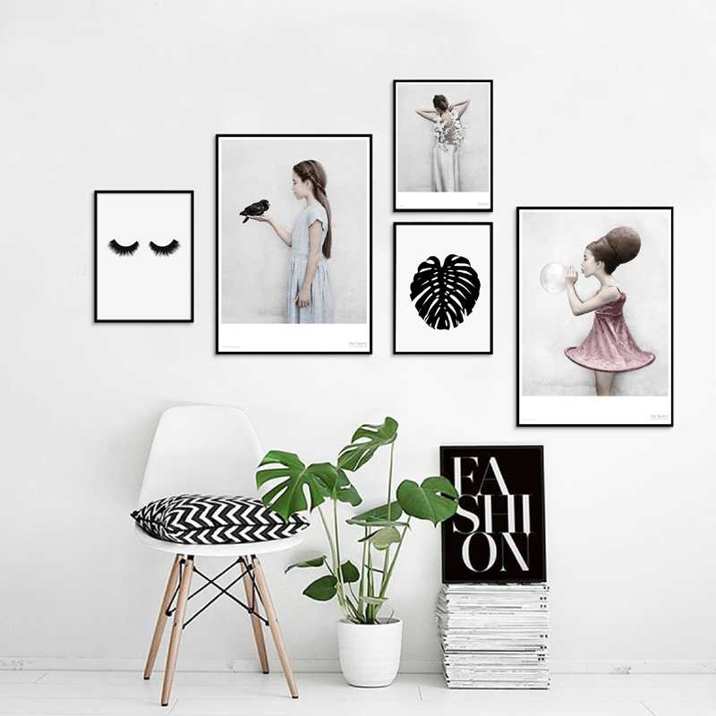 Nordic Style Beautiful Girls Canvas Art Prints and Poster , Pretty Girl Back Wall Picture Canvas Art Painting Home Wall Decor