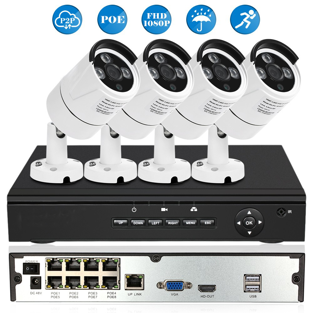 4CH Ch Full HD 1080P POE NVR Network Video Recorder with 4pcs 2.0MP POE Weatherproof Outdoor Bullet IP Camera Security Syetem