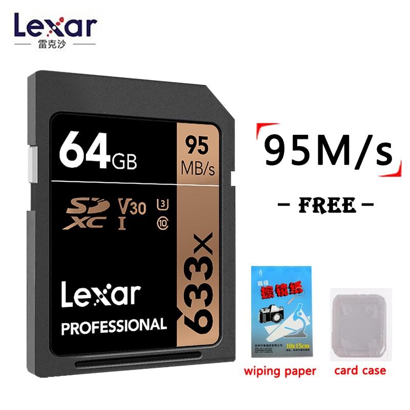 Lexar genuino 95 MB/S 633x16G tarjeta SD de 64 GB 32 GB 128 GB tarjeta de memoria flash, SDHC/ SDXC U3 Clase 10 tarjeta de memoria sd para DSLR HD tarjeta de video