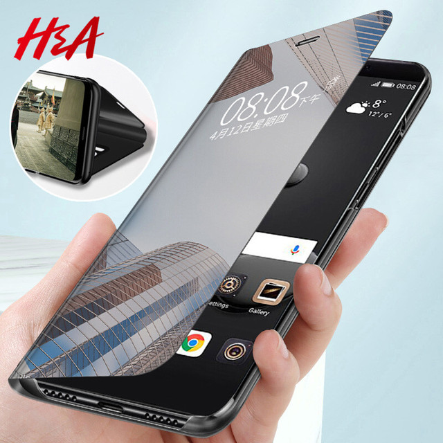 H A Luxury Smart Mirror Flip Phone Case For Samsung Galaxy S10E S10 S9 S8 Plus
