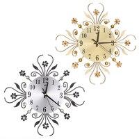 35 센치메터 럭셔리 다이아몬드 벽 시계 3D DIY 현대 소박한 석 홈 벽 시계 홈 장식 거실 아트 벽 시계 웨딩