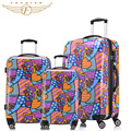 2017 New Trolley Rolling Travel Hardside Luggage Sets 20 + 24 +28 inches 3 Pieces Set Flower Heart Print Fochier carry-on