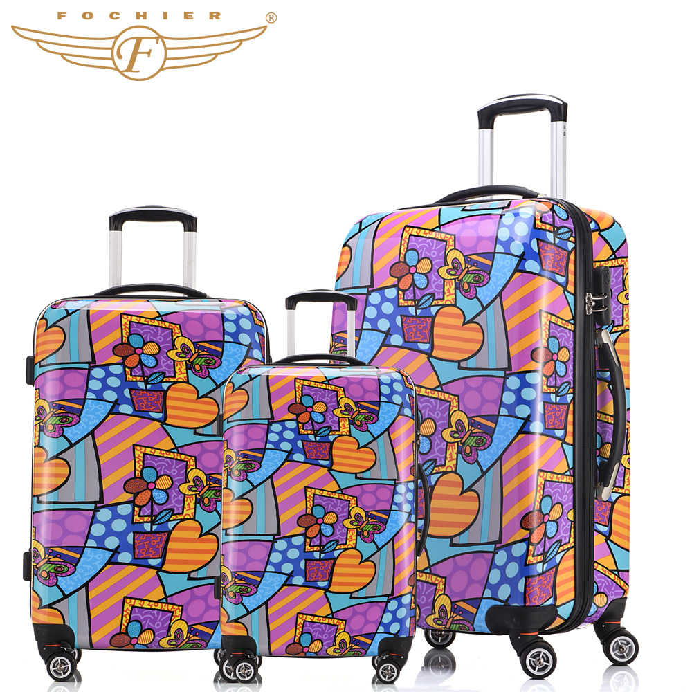 New Trolley Rolling Travel Hardside Luggage Sets 20 + 24 +28 inches 3 Pieces Set Flower Heart Print
