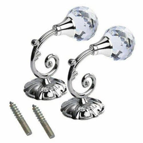2PCS Solid Luxury Crystal Ball Glass Curtain Holdback Wall Tie Back Hooks Hanger Holder Curtain Wall Hooks