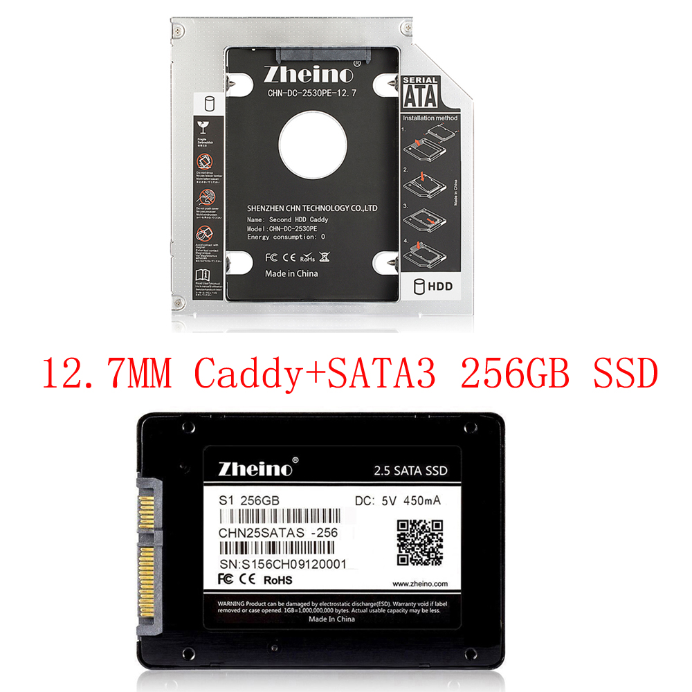 Zheino SATAIII 256GB SSD with Aluminum 12.7mm Caddy Laptop Sata SSD HDD Frame Caddy Adapter Bay CD/DVD-ROM Optical For laptop