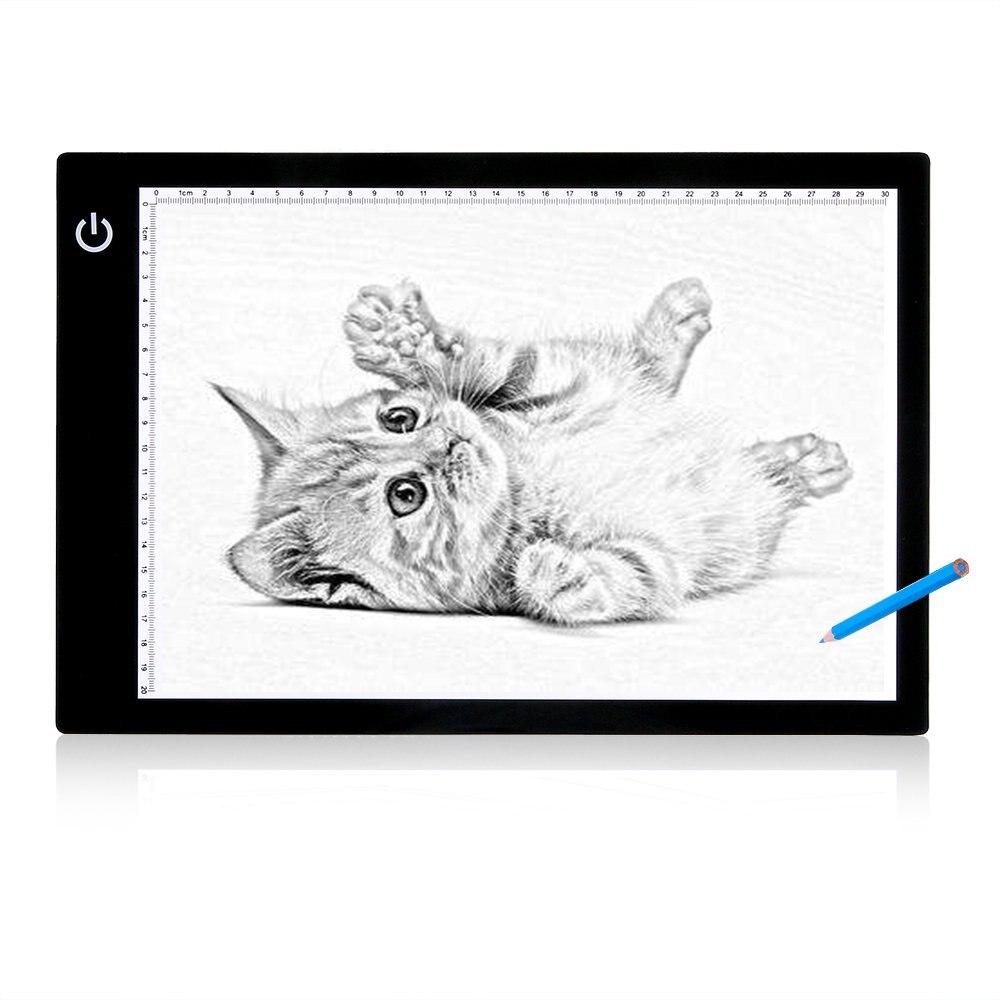 A4 conduziu a calibração da placa de desenho da luz que traça a caixa da almofada da luz do esboço digital tablet acrílico em branco da aguarela para a pintura