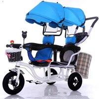 12 polegada 2 crianças gêmeos do bebê triciclo bicicleta triciclo assento duplo tandem trike com pedal dobra e remover descanso de braço