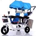 12 pulgadas 2 niños triciclo gemelos bebé bicicleta doble asiento triciclo tándem con pedal plegable y quitar el resto del brazo