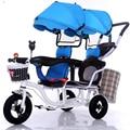 12 zoll 2 kinder dreirad twins baby fahrrad doppelsitzdreirad tandem trike mit falten pedal und entfernen armlehne