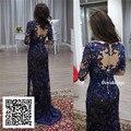 Luxo Appliqued Renda Mãe dos Vestidos de Noiva com Luva Cheia bainha V Pescoço Azul Marinho Mãe ele Vestido de Noiva de Renda
