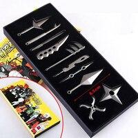 10 Pcs Set Naruto Metal Toy Sword Kakashi Kunai Knife Throwing Set Mini Naruto Weapon Toys