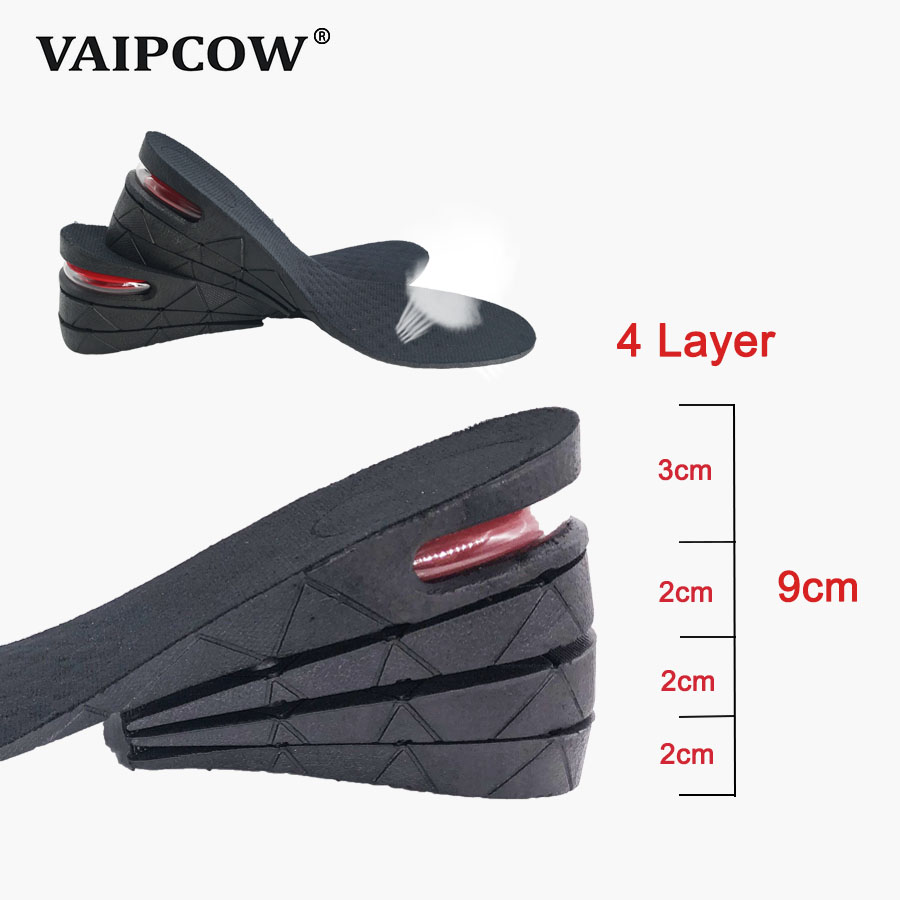 3-9cm Height Increase Insole Cushion Lift Adjustable Cut Shoe Heel Insert Taller ShockArch Support Absorbant Foot Pad