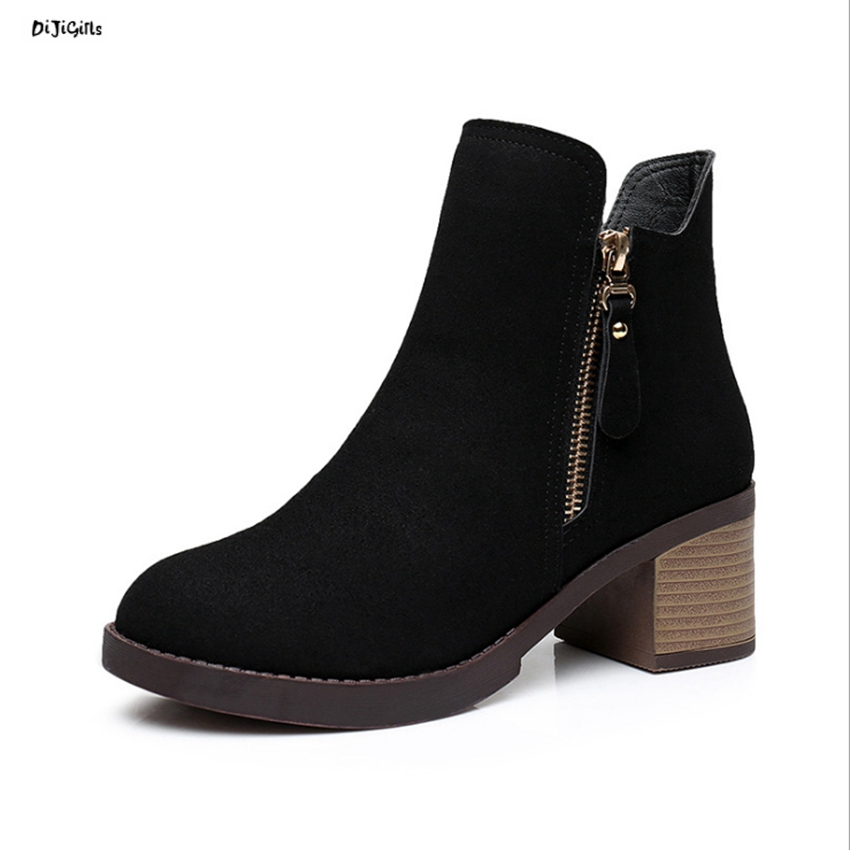 Women Leather Suede Ankle Boots Thick Mid Heels Plus Size Casual Shoes Short Booties for Spring Autumn Winter qn01 front lace up casual ankle boots autumn vintage brown new booties flat genuine leather suede shoes round toe fall female fashion