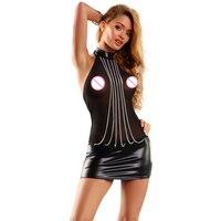 Hot Sexy Mesh Wetlook en Zilveren Kettingen Mini Club Jurk Halter Mesh Vestidos Robe Vinyl Lederen Jurken Clubwear 860708