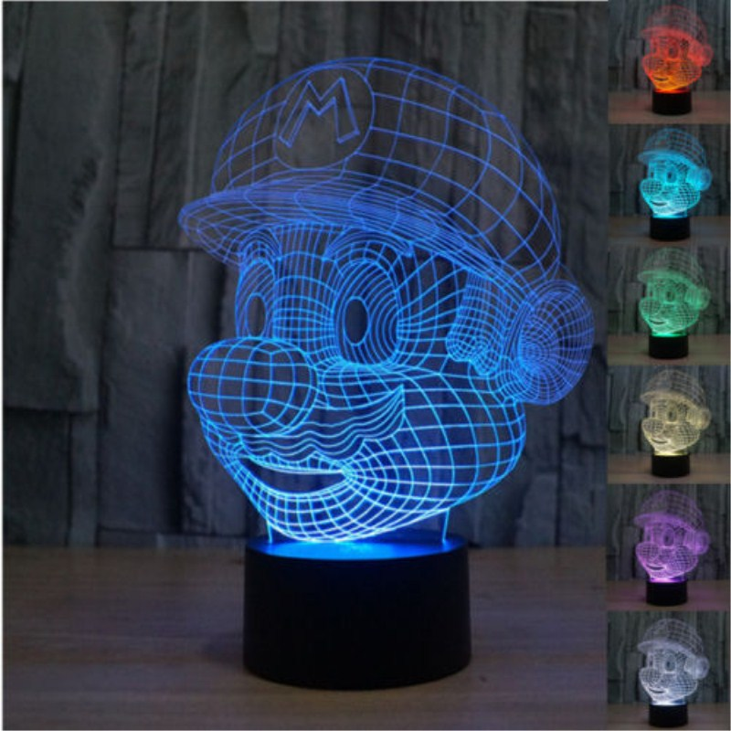 Colourful Usb Mario 3d Table Lamp Luminaria Led Night