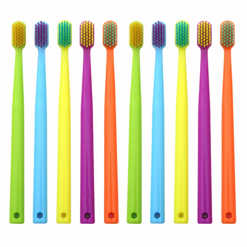 10Pcs/Set Adult Couples Bright Colorful Soft Fine Bristle Head Toothbrush With Hole Oral Hygiene Care Family Random Color