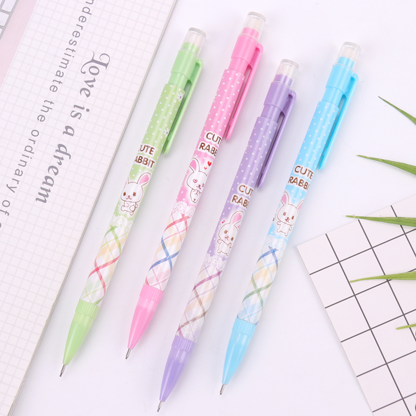 1PC Plastic Mechanical Pencil With Eraser 0.7mm Automatic Pen For Kids Writing Drawing School Supplies