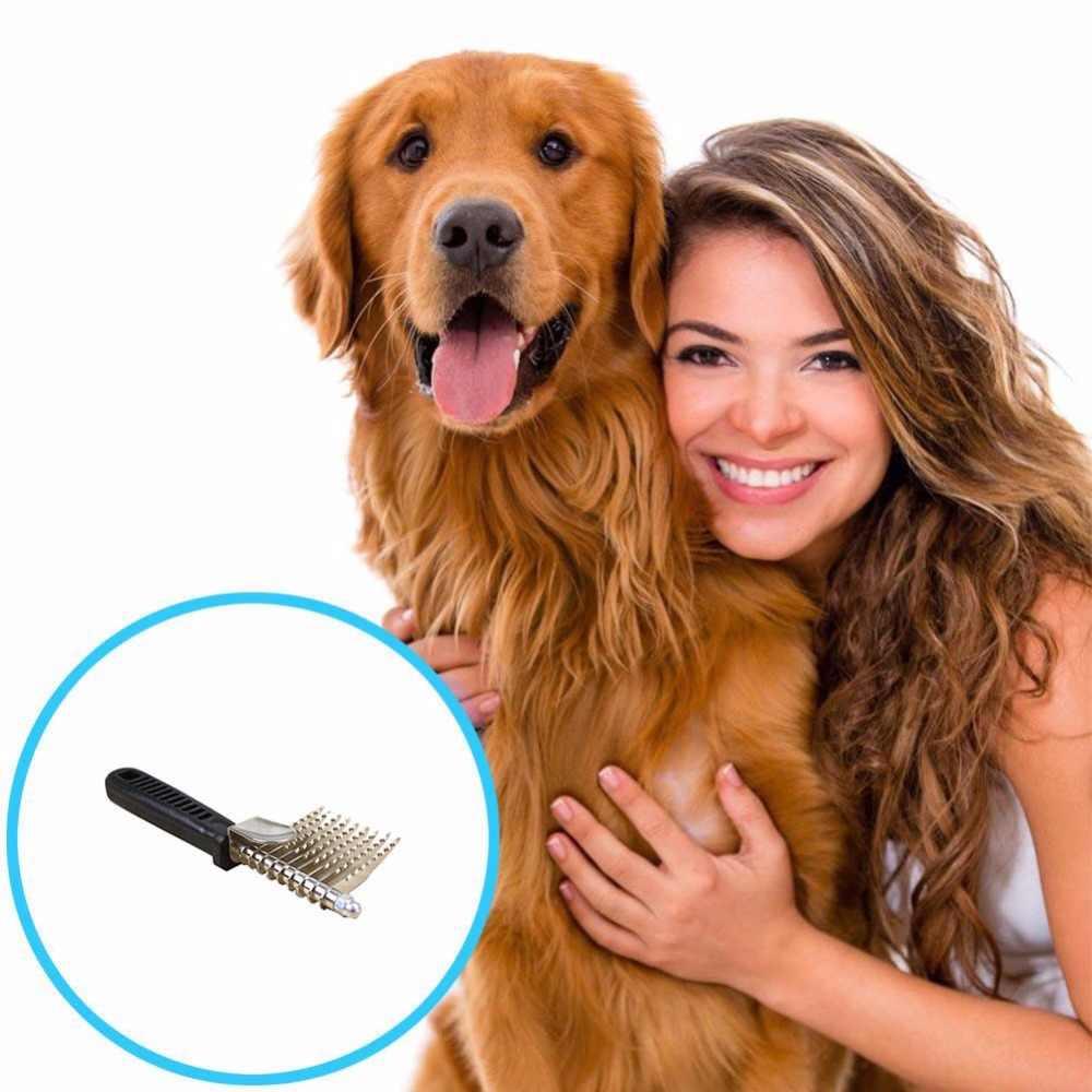 새로운 애완 동물 dematting 도구 오픈 매듭 빗 매트 빗 레이크 손질 도구 긴 matted 머리 개 고양이