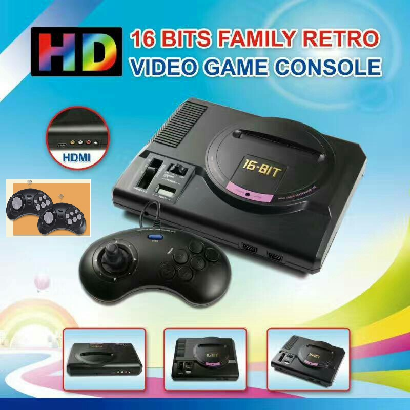 HD TV Video Game Console For 16 Bit Games Retro Game Console with HDMI Output 2 Wireless   1 Wired Gamepads 1 Free 18 in 1 Card