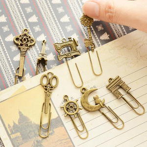Image 5 - 10 Piece/lot Cute Metal Bookmark Vintage Key Bookmarks Paper Clip For Book Stationery Free Shipping School Office Book Marks