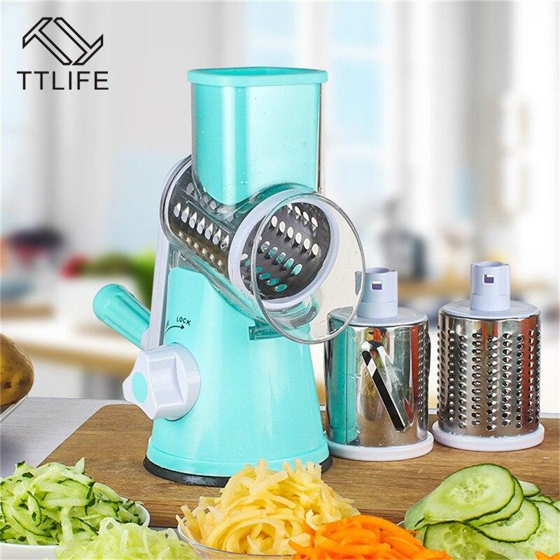 TTLIFE Gemüseschneider Runde Mandolinenschneider Kartoffel Karotte Aufschnittmaschine mit 3 Edelstahl Chopper Klingen Küche Werkzeug