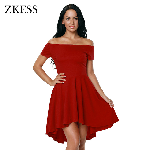 c647e0755c ZKESS Elegant Women 2019 for Party Dresses Sexy Off Shoulder Burgundy All  The Rage Skater Dress