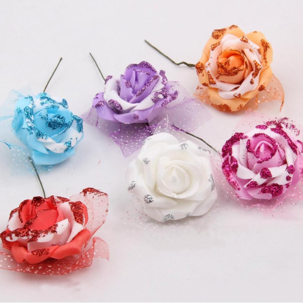 Lacoste Ling Wedding Wedding Projects 6 Head Table: 50PCS,5CM Head, Artificial Foam EVA Glitter Roses With
