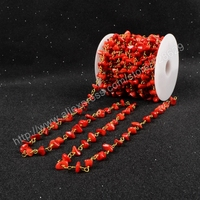 BOROSA 5Meter/lot New Wire Wrapped Natural Red Coral Chips Beads Link Rosary Chains Jewelry Findings JT049