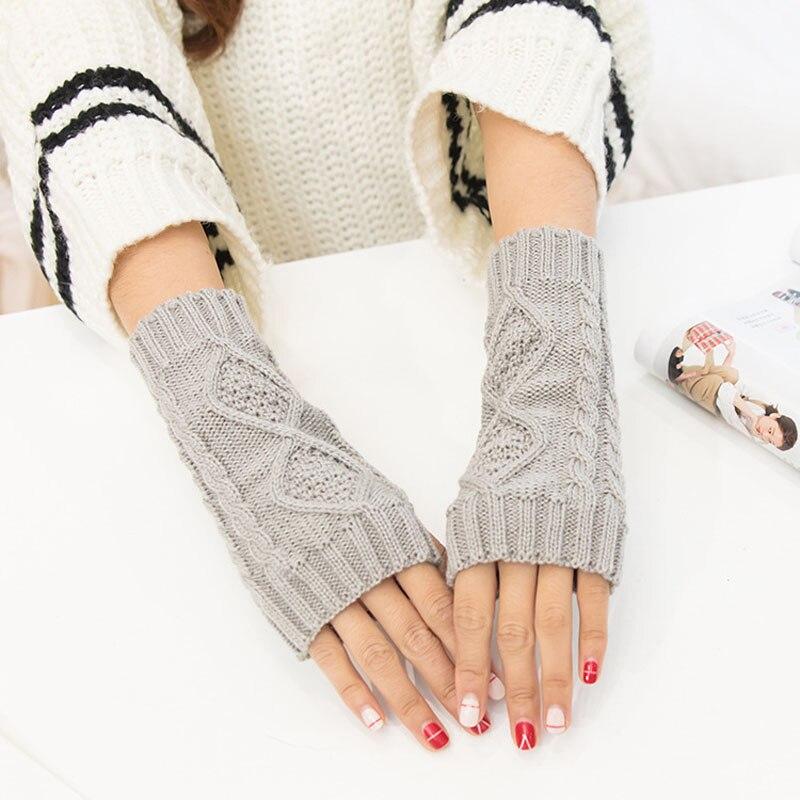Women Hand Warmer Winter Knitted Gloves Crochet Knitting Mitten Fingerless Gloves XIN-Shipping