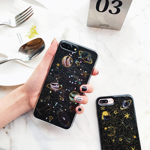 for iphone 7 case glitter space planet cover for iphone 6s. Black Bedroom Furniture Sets. Home Design Ideas