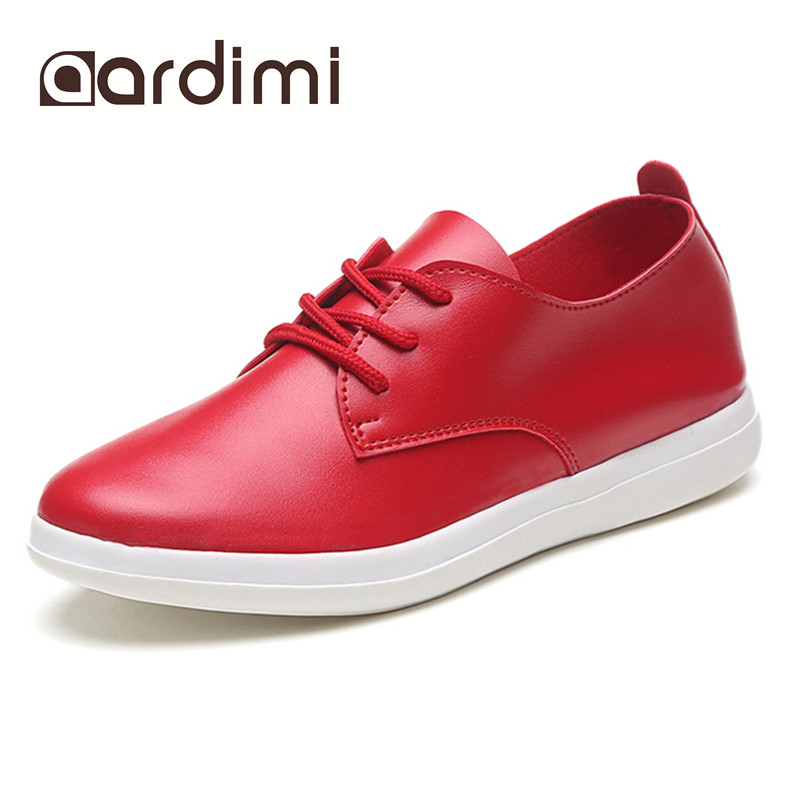 New Arrival 2017 casual shoes woman autumn black white red women flats shoes classic solid round toe lace up shoes woman