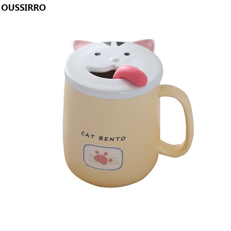 e716d94d1c6 OUSSIRRO Cute Cat Ceramics Coffee Mug With Lid Large Capacity 430ml Mugs  creative Drinkware Milk Tea Cups Christmas Gifts
