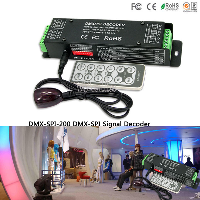 LTECH DMX Signal to SPI Signal LED Decoder DMX-SPI-200 support 1903 6803 WS2801 WS2812 TM1804 WS2811 IC Pixel Tape with remote ltech lt dmx 1809 dmx decoder dmx spi signal convertor support tm1804 tm1809 ws2811 ws2812b for led strip