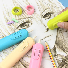 Купить с кэшбэком 1PC New Cute 4 Color Electric Eraser Kit Automatic School Supplies Stationery Gift With 20 Refills