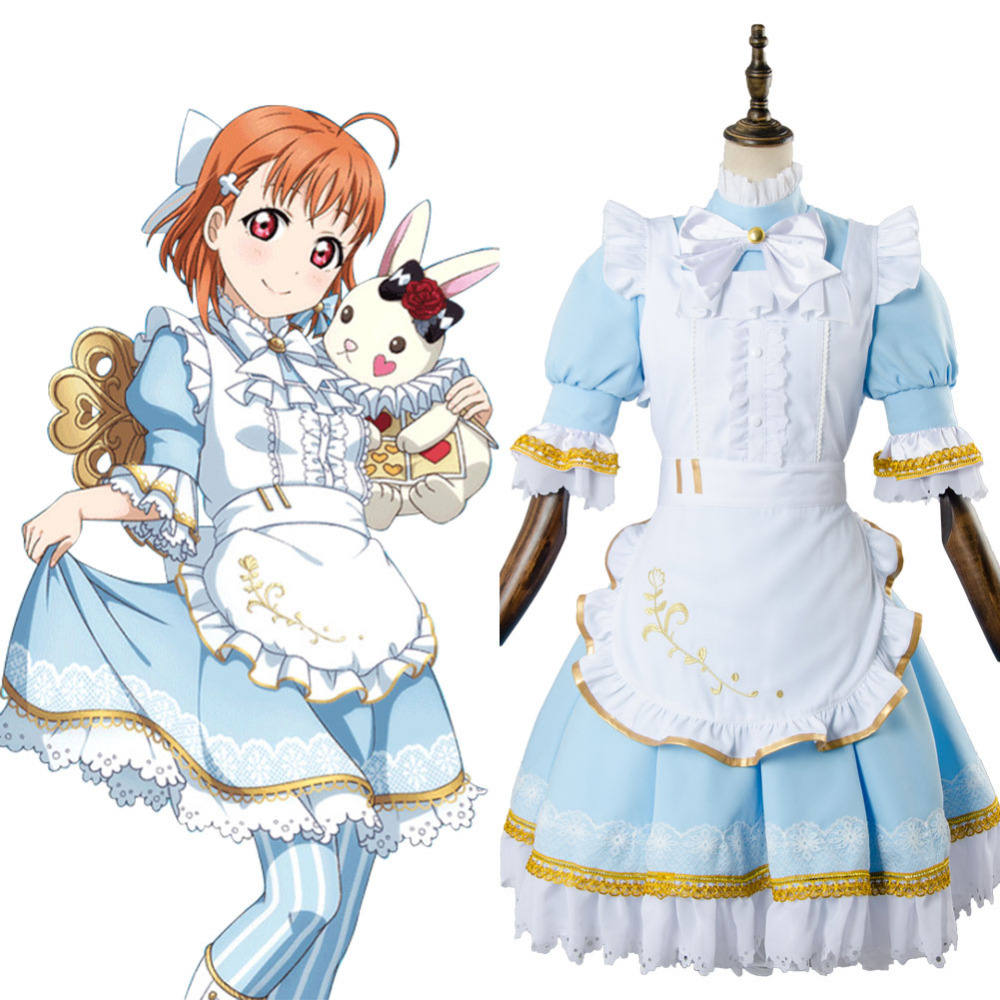 Love Live!Aqours Chika Takami Wonderland Alice Cosplay Costume Maid Suit Dress Adult Women Halloween Carnival Costume