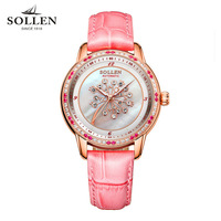 SOLLEN Brand Luxury Fashion Watch Women Diamond Crystal Automatic Mechanical Watches High Quality Waterproof Leather Wristwatch