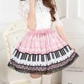Harpsichord Piano keyboard printed skirts Women Pink lolita princess pleated  sweet a-line skirts Lolita super cute fashion SK