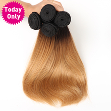 [TODAY ONLY] Blonde Brazilian Straight Hair Weave Bundles Ombre Human Hair Bundles Two Tone 1b 27 Non Remy Hair Can Buy 3 or 4