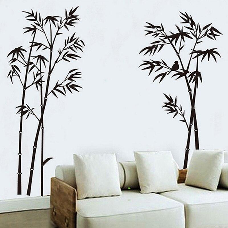 Панда бамбуковые птицы настенные наклейки для детской комнаты домашний декор спальня гостиная ТВ диван фон настенные наклейки плакат росп...