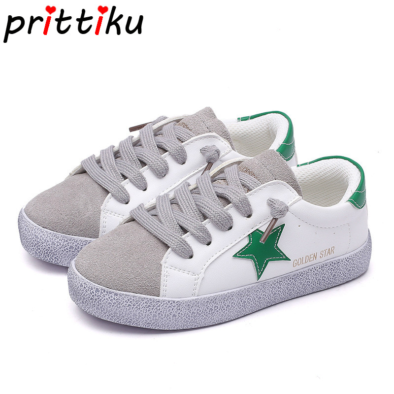 цена на Spring 2018 Toddler Boy Girl Distressed Earthy Star Sneaker Little Kid Genuine Leather Casual Trainers Big Kid Brand Sport Shoes