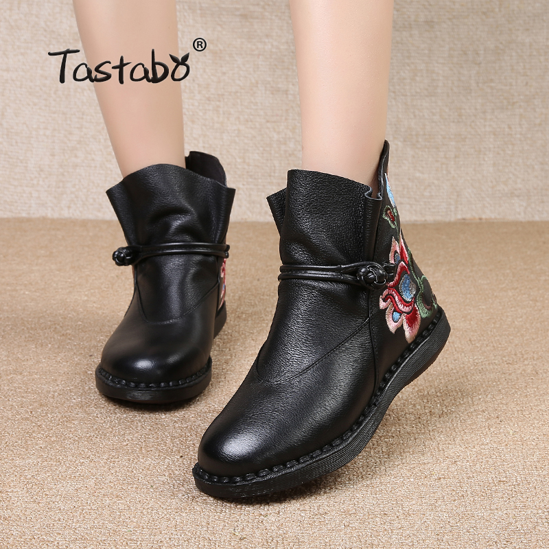Tastabo Flower Ankle Boots for Women Classic Black Flat with Genuine Leather Shoes Ladies Boots Comfortable Round Embroider Boot