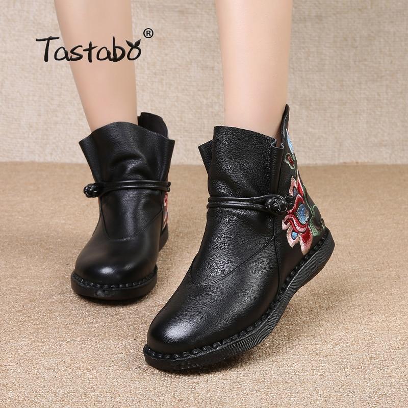 여성을위한 tastabo 꽃 발목 부츠 정품 가죽 신발과 클래식 블랙 플랫 숙녀 부츠 편안한 라운드 자수 부팅-에서앵클 부츠부터 신발 의  그룹 1