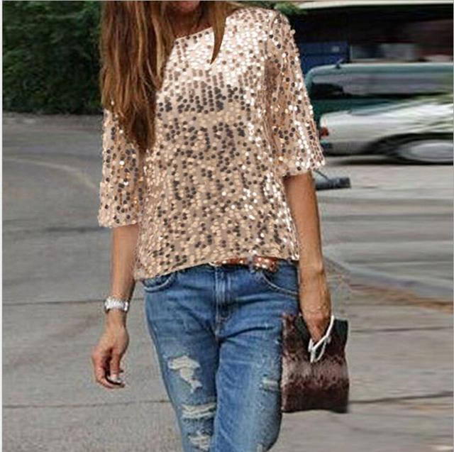 New womens Tops Fashion 2017 Women Summer Blouse Half  Sleeve Casual Shirt Sequined women Blouses Plus size