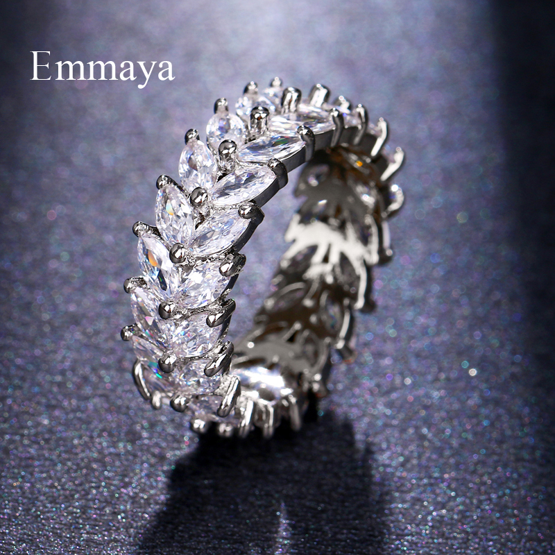 Emmaya New Trendy Crystal Engagement 5 Colors Hot Sale Rings For Women AAA White Zircon Cubic Elegant Female Wedding Jewelry
