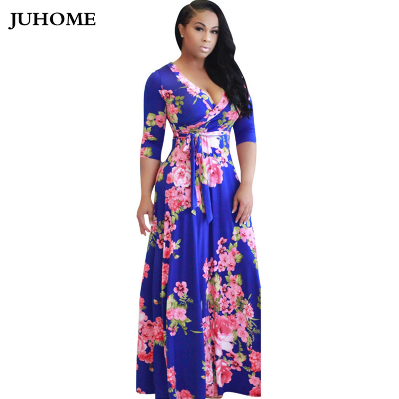 elegant blue yellow white flower print vestidos robe sexy Vintage A Line v  neck designer dress