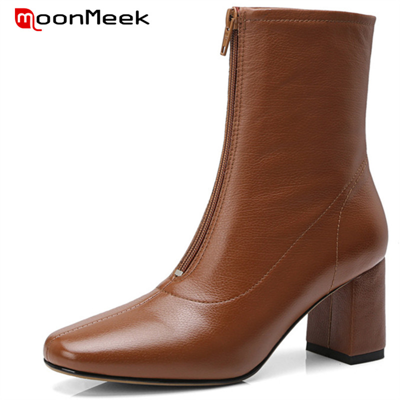 MoonMeek top quality 2018 autumn winter round toe ladies boots genuine leather boots popular woman ankle boots high heels shoesMoonMeek top quality 2018 autumn winter round toe ladies boots genuine leather boots popular woman ankle boots high heels shoes