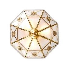 Europe Vintage Led Ceiling lamp Diamond Glass Copper Foyer E27 bulb Dia 60 Simple Round Loft